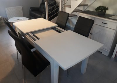 Table blanche coulissante